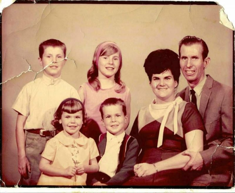 Top left: My brother Rick, sister Cindy Bottom Left: Me, my brother Randy, Mom, Dad